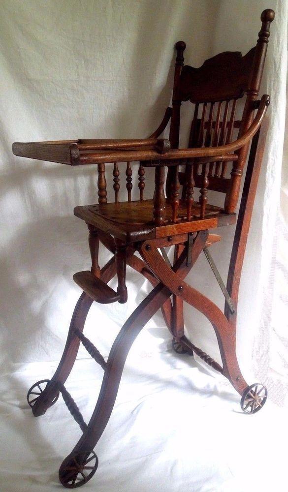 Vintage~Walter Heywood Wakefield Antique Oak High Chair Convertible Folding~ RARE - Vintage~Walter Heywood Wakefield Antique Oak High Chair Convertible