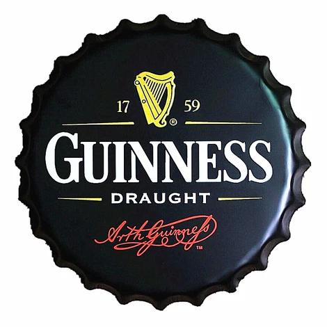 Guinness Draught Decorative Vintage Metal Bottle Cap Tin Sign 15 75 D Mancave Metal Bottles Guinness Draught Guinness