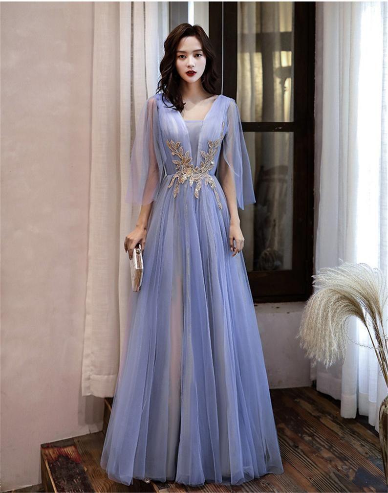 Purple Wedding Dress V Neck Bridal Dress 3 4 Sleeves Prom Dress Floor Length Elegant Bridesmaid Dress Zipper Back Formal Event Dress In 2021 Elegant Bridesmaid Dresses Event Dresses Formal Dresses [ 1008 x 794 Pixel ]