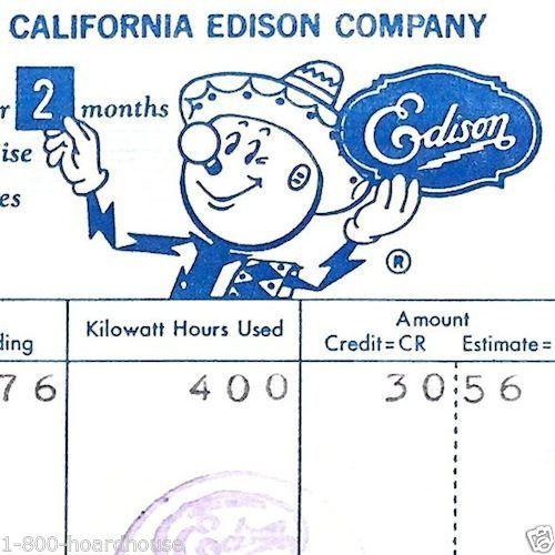 Vintage Original REDDY KILOWATT Southern California Edison Utility Receipt 1962