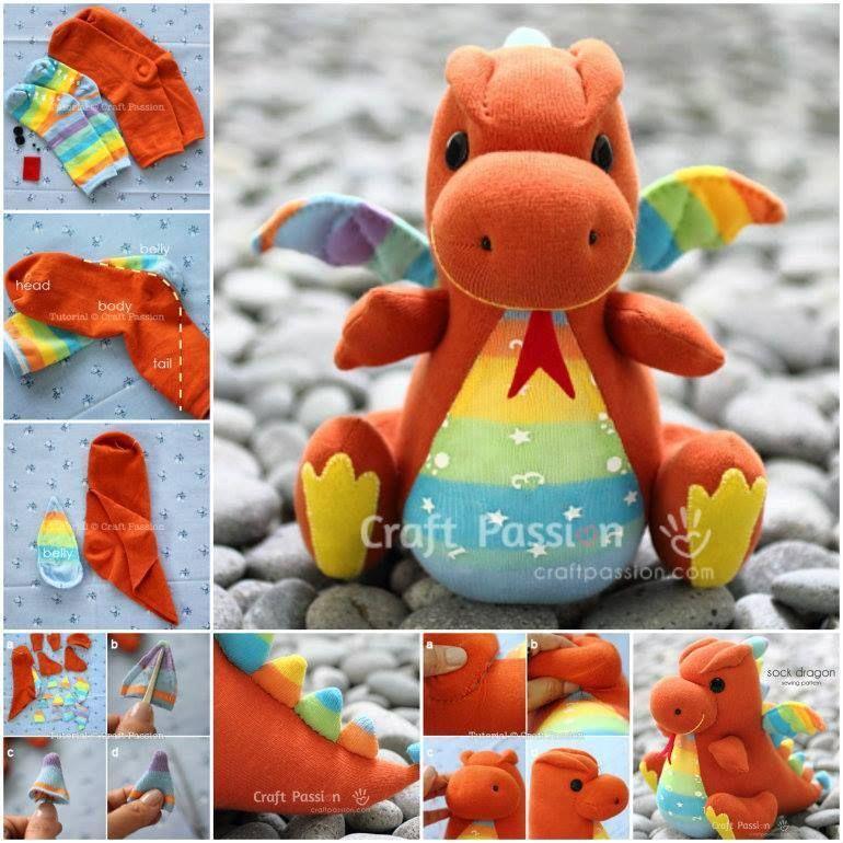 Sock Dragon - Free Sewing Pattern | Drachen, Basteln mit socken und ...