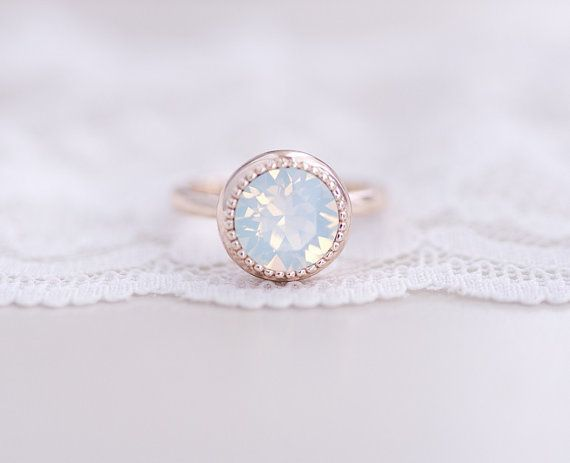White Opal Rose Gold Ring swarovski crystal rhinestone rose