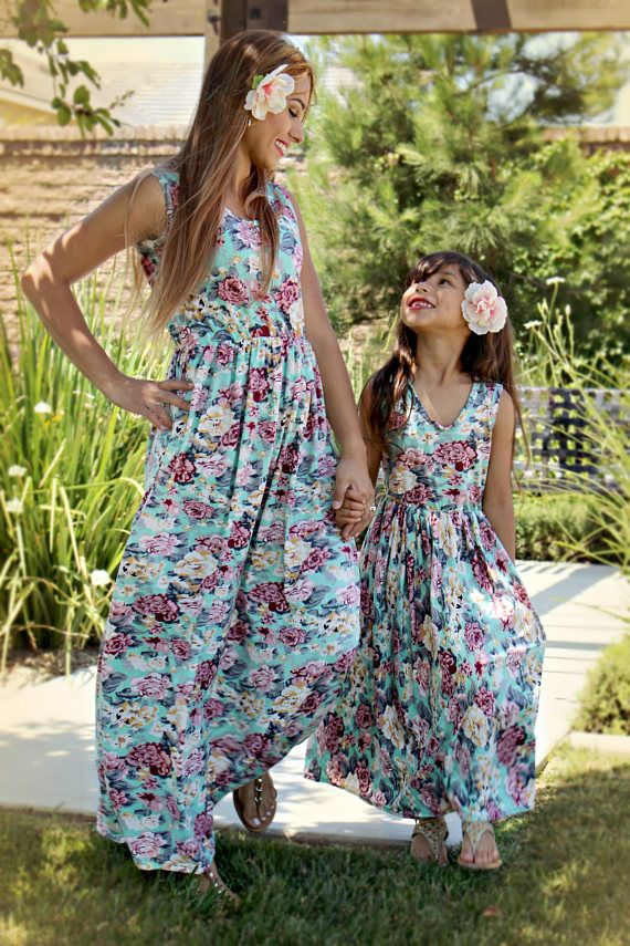 5ef7b1f474 Floral maxi, mommy and me outfits, mother daughter, matching outfits ...