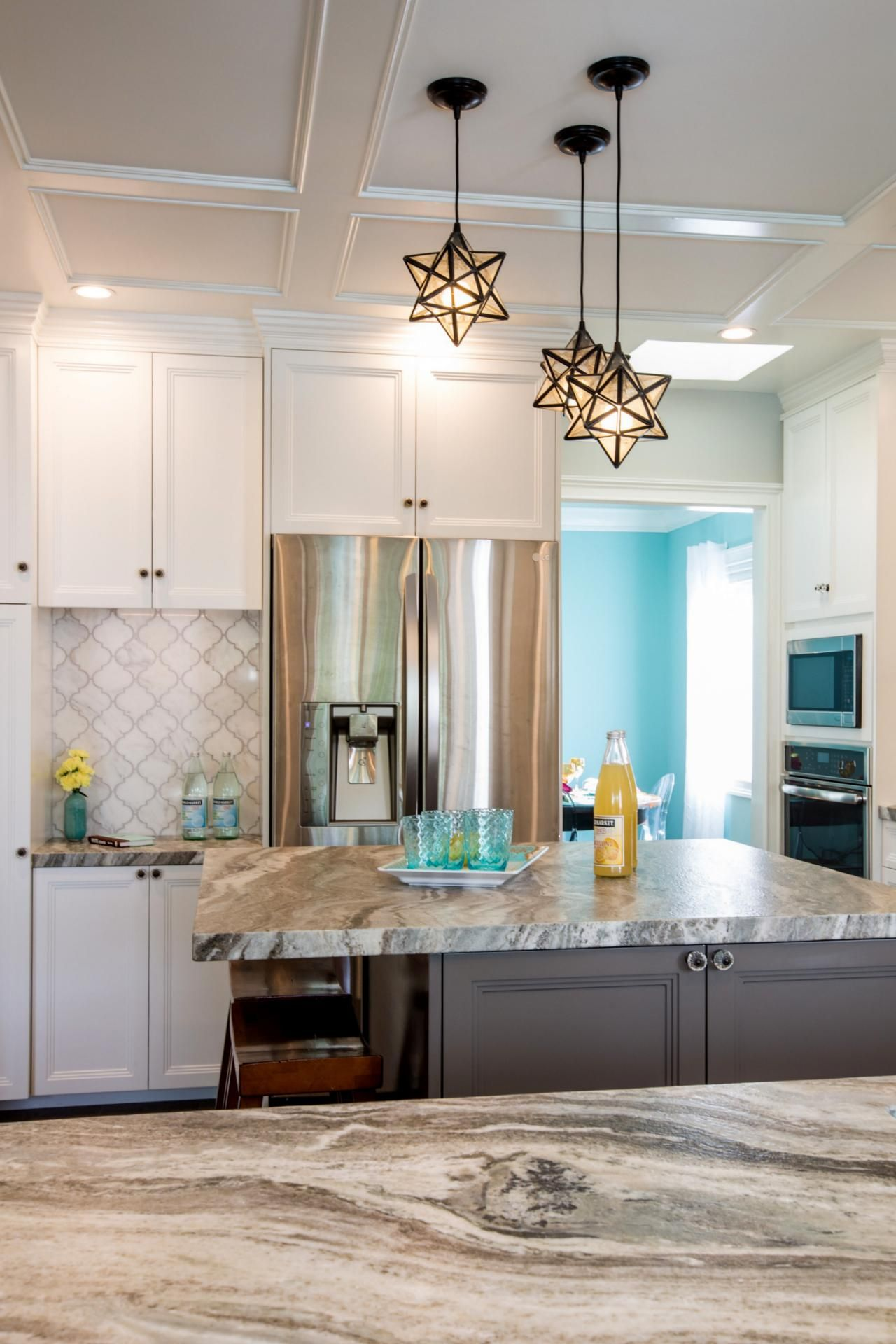 I Love The Arabesque Tile Backsplash And Star Shaped Pendant Lights Stephanie Hatten Hgtv Kitchen Pictures Kitchen Home