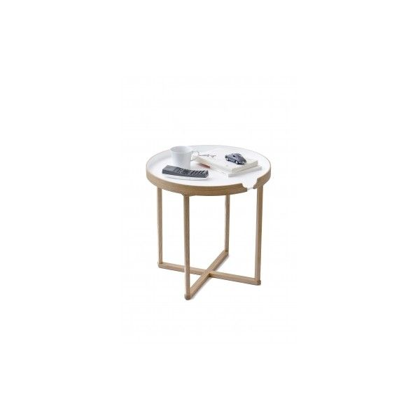 Wireworks Damien Round Oak/White Table ($165) ❤ Liked On Polyvore Featuring  Home