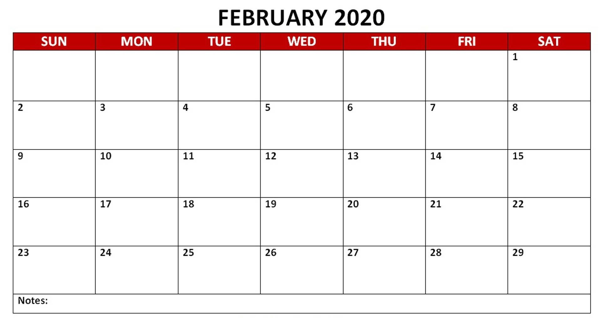 Monthly February 2020 PDF Calendar Landscape Calendar