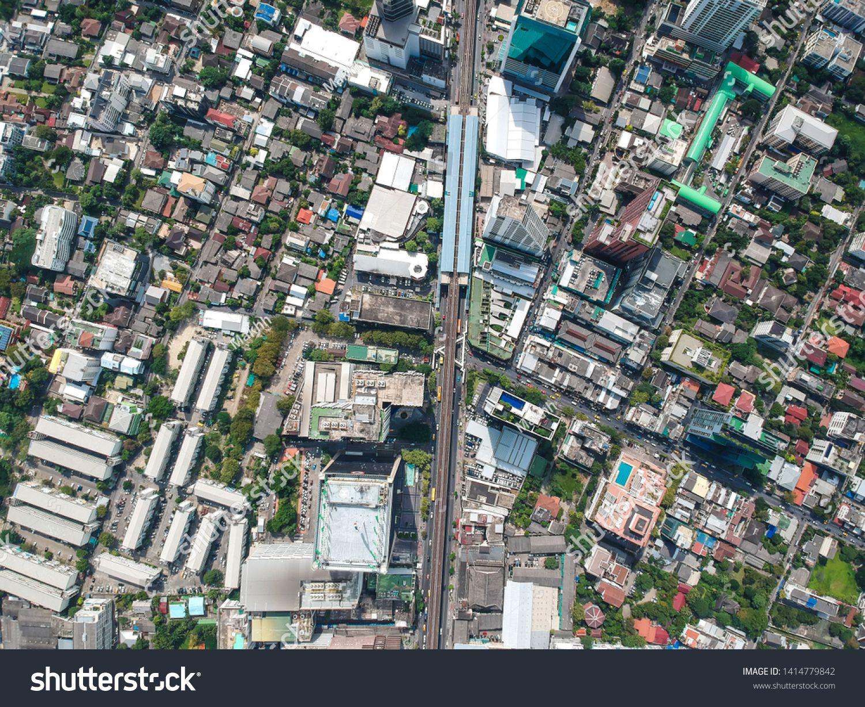 Bangkok midtown city building with BTS sky train aerial view, Thailand #Sponsored , #SPONSORED, #building#BTS#city#Bangkok