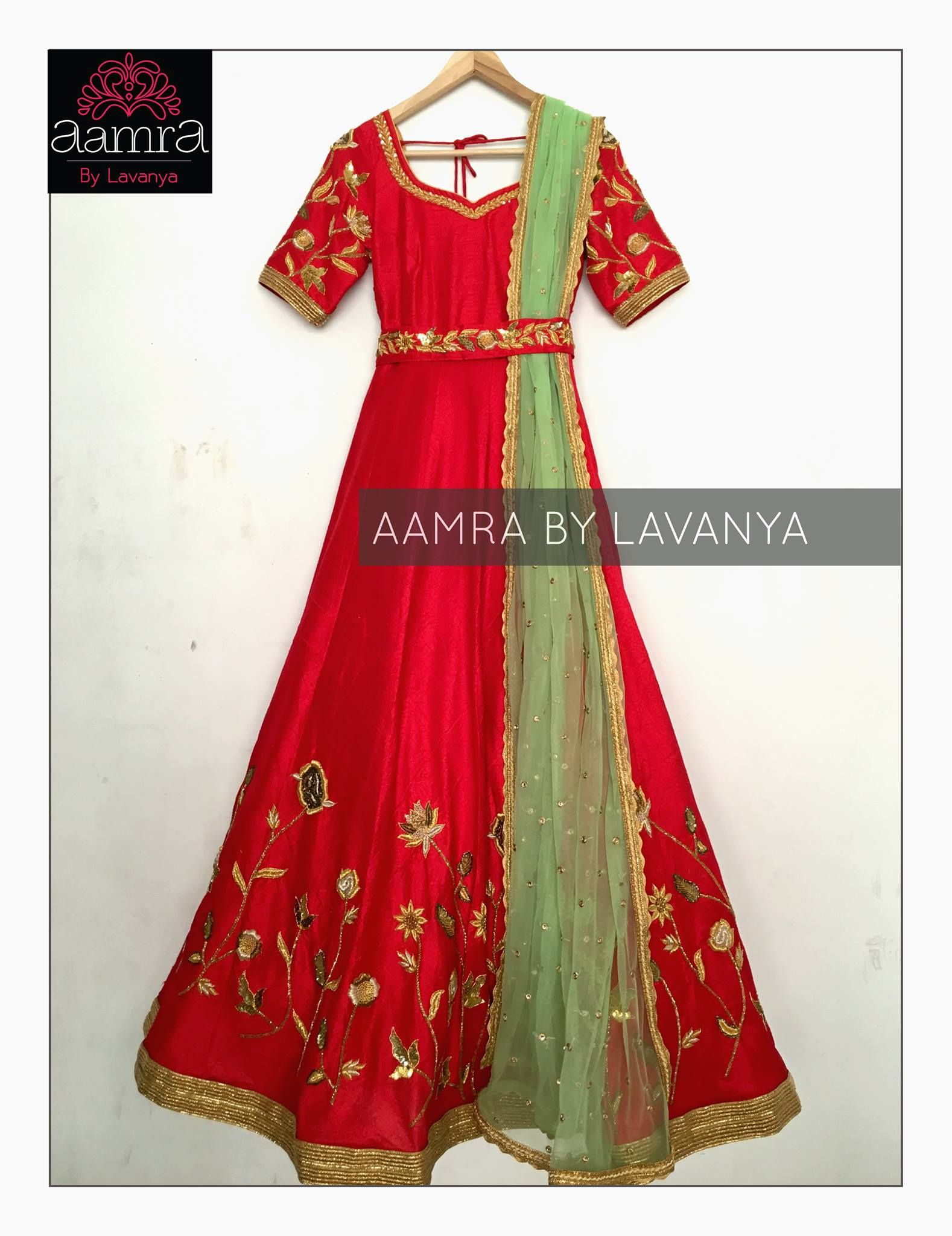 Red floor length anarkali with a waistbelt beautiful red color