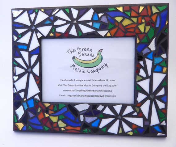 Mosaic Picture Frame Funky Floral Handmade Stained Glass Mosaic
