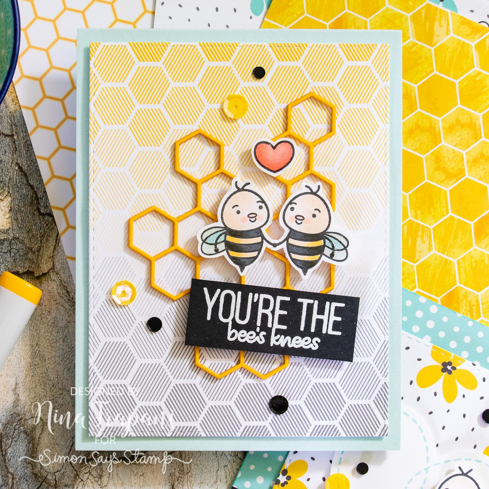 2 Ways to Use Simon's July Card Kit, Bee Yourself! | Nina-Marie Design #cardkit