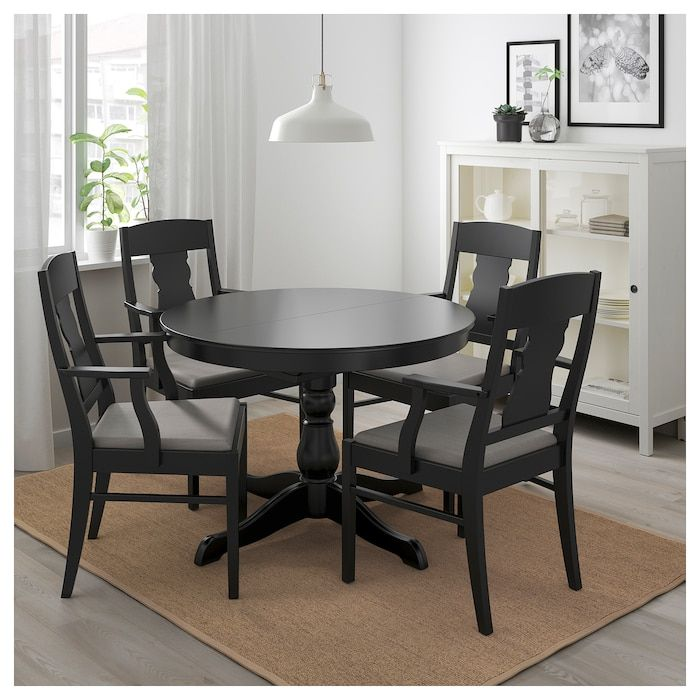 INGATORP / INGOLF Table and 4 chairs - black, Nolhaga gray ...