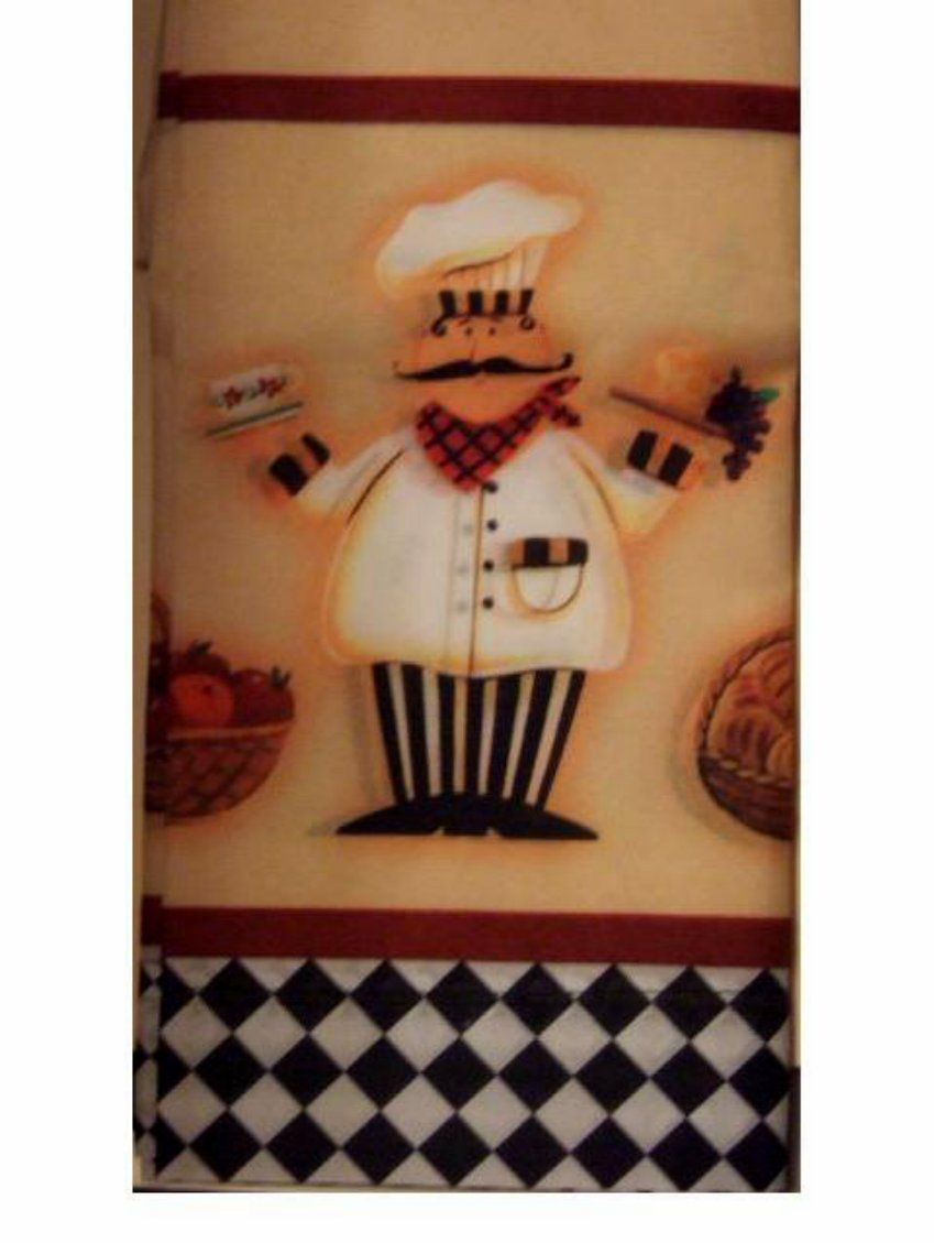 Fat Chef Kitchen Curtains Tiers Swag Window Set $26.95