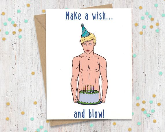 Make A Wish And Blow Funny Birthday Card Gay Greeting Card Funny