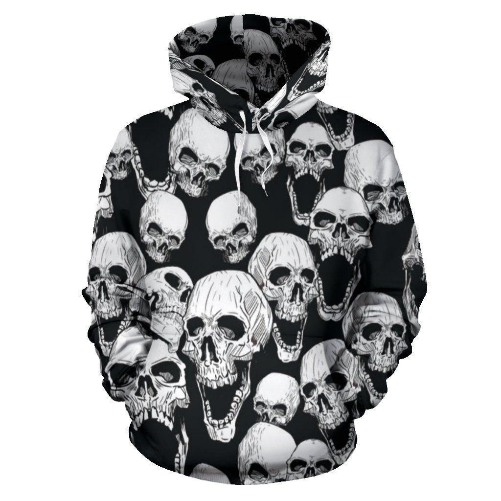 Distressed Skull Crossbones Biker Hooded Hoodie Sweatshirt