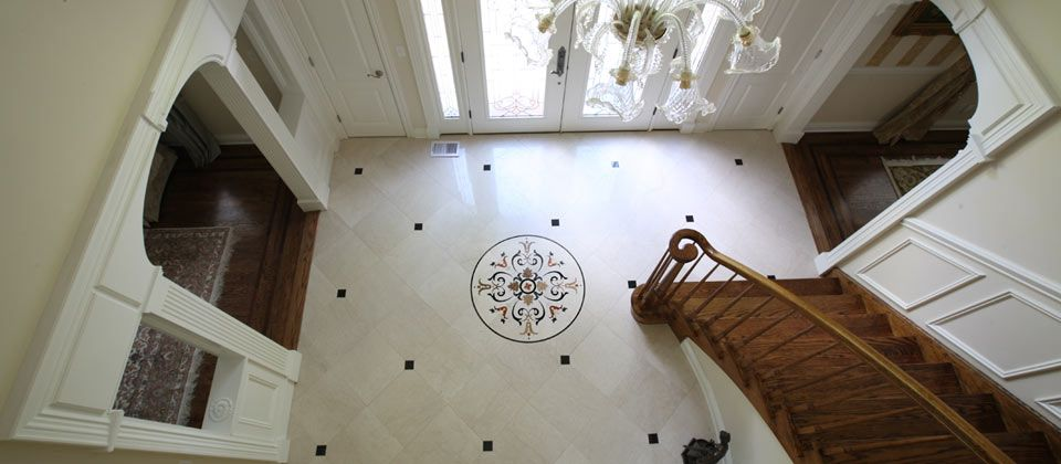 Floor Entry Designs Entry Foyer With Custom Waterjet