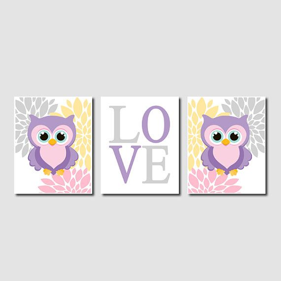 Floral Owl Nursery Artwork Lavender Pink Gray Aqua Yellow Love Set of 3 Prints Baby Girl Modern Nursery Art Decor Wall Art Picture Bedding on Etsy, $25.00