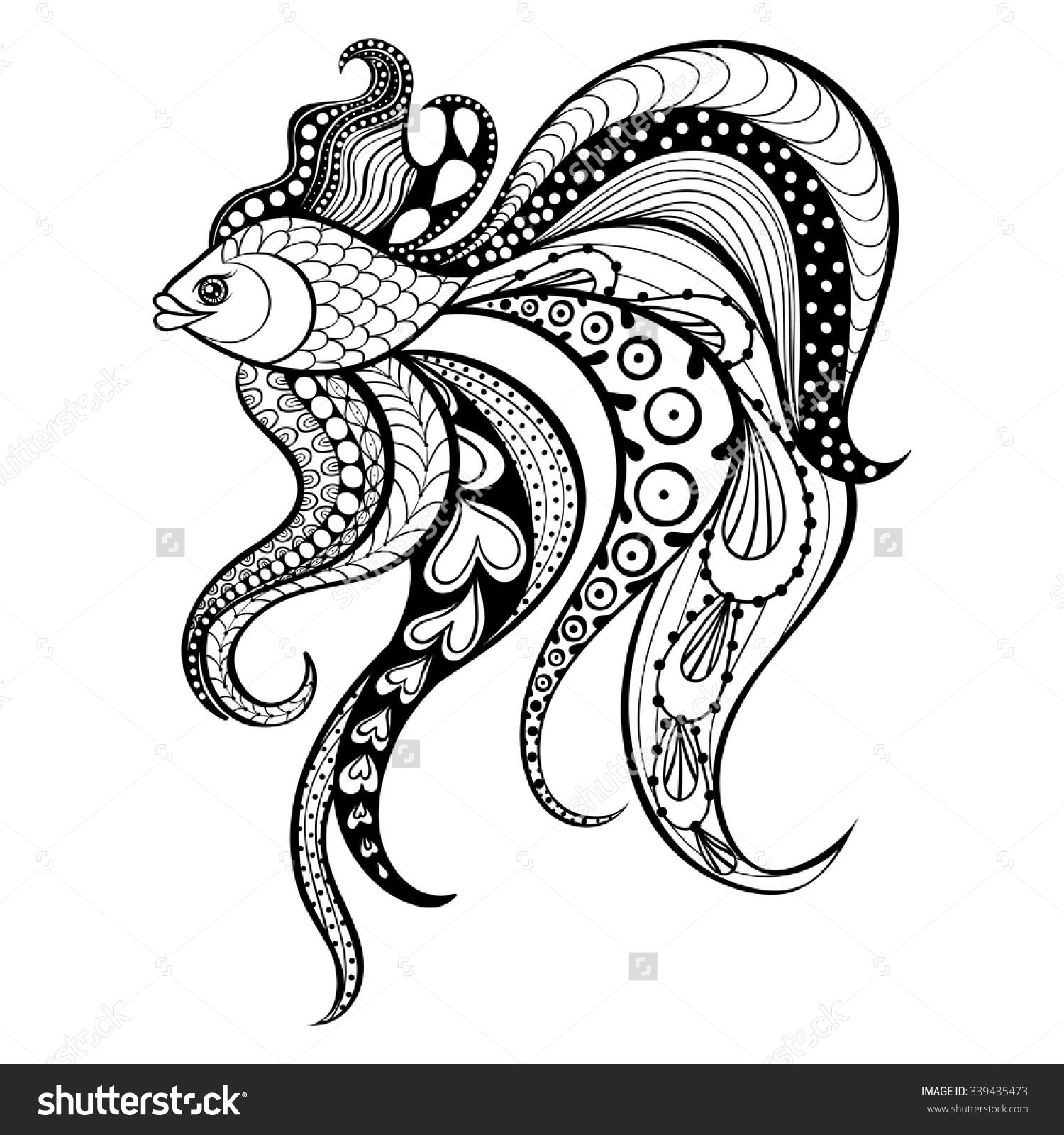 Zentangle Vector Gold Fish For Tattoo In Boho Hipster