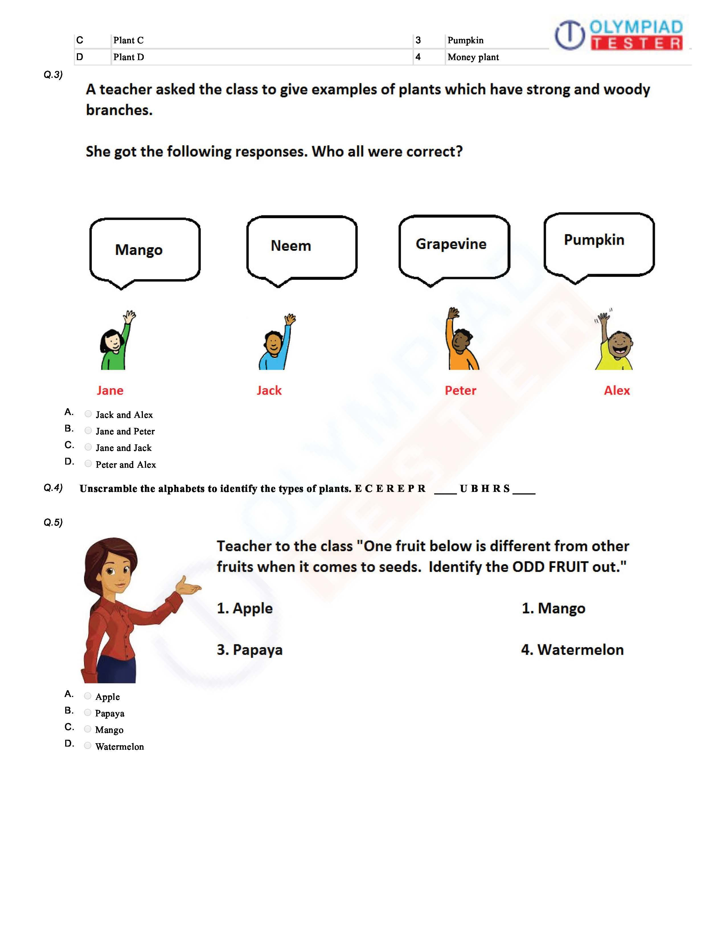 Download Science Olympiad Class 1 PDF worksheet 2 on