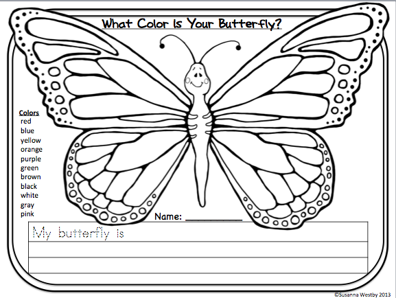 FREE butterfly printable to practice color words and symmetry