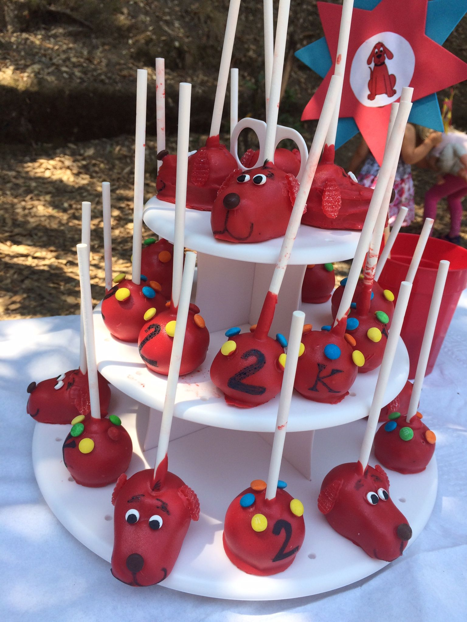Clifford cake pops use your favorite cake pop recipe