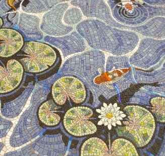 fishpond mosaics, koi mosaics, koi ornament, pool mosaics, mosaic ponds, water features