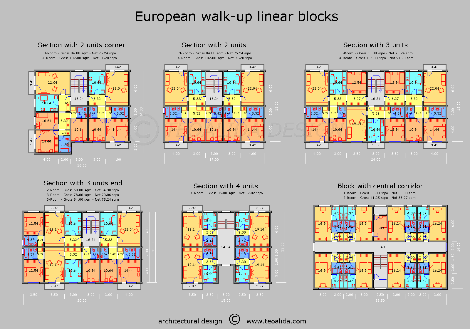 European Walk Up Floor Plan 2 3 4 Room Apartments