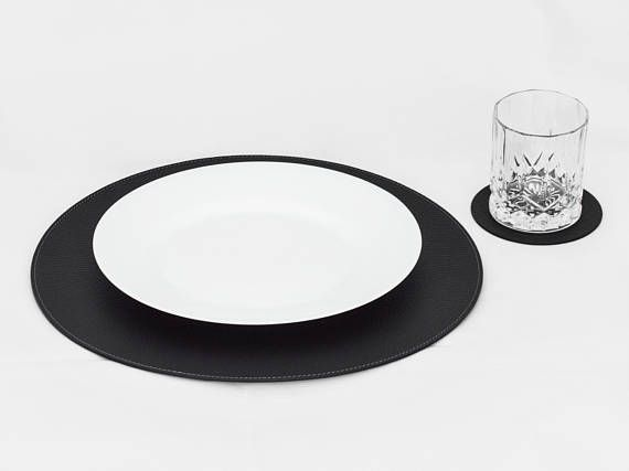 Black Round Placemats Placemats For Round Tables Place Etsy Placemats For Round Table Black Placemats Stylish Table Decor