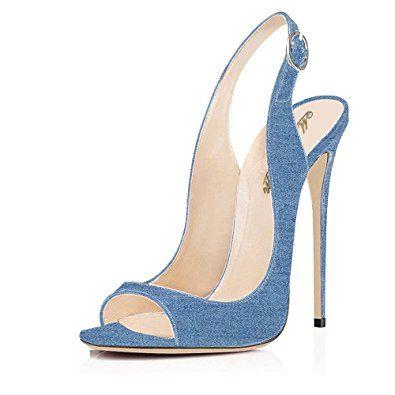 2fc1d38d7da63 Modemoven | Light-blue denim peep-toe very high stiletto-heeled ...