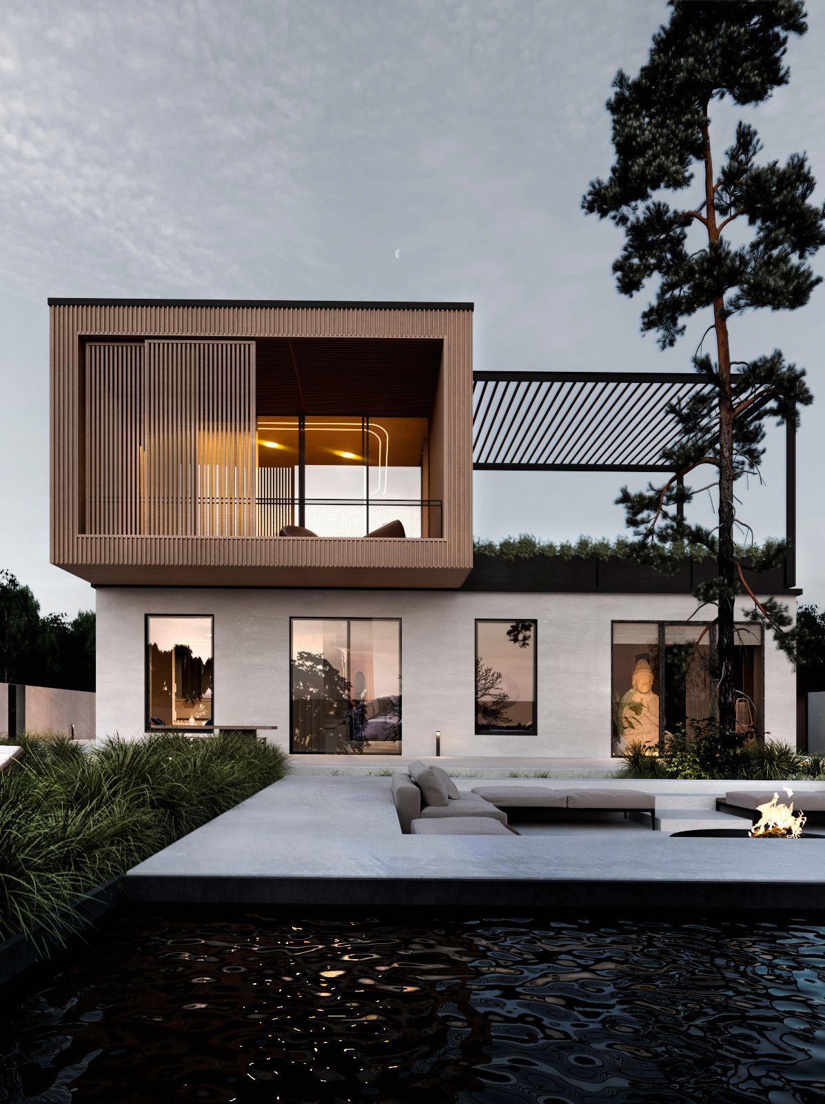 49 Most Popular Modern Dream House Exterior Design Ideas 3 In 2020: Modern Villa Design, Modern House Exterior, Facade