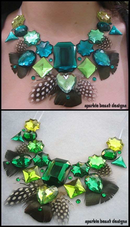 Green Rhinestones and Feathers by Natalie526 on deviantART