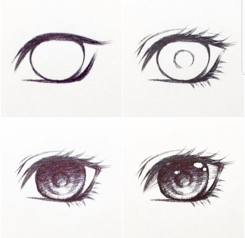 Картинки глаз аниме карандашом поэтапно