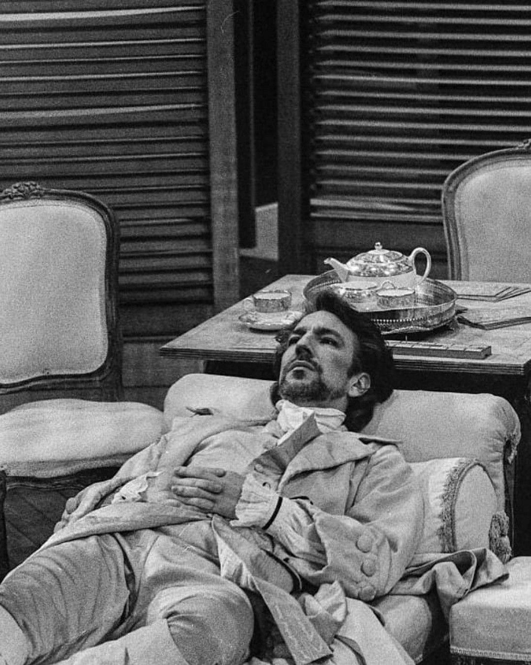 Actor: Alan Rickman. Aged: 40 Theatre play: Les Liaisons Dangereuses. Year: 1986/87