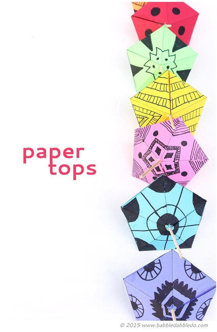 Simple Paper Toys Paper Tops Summer Theme Days Pinterest