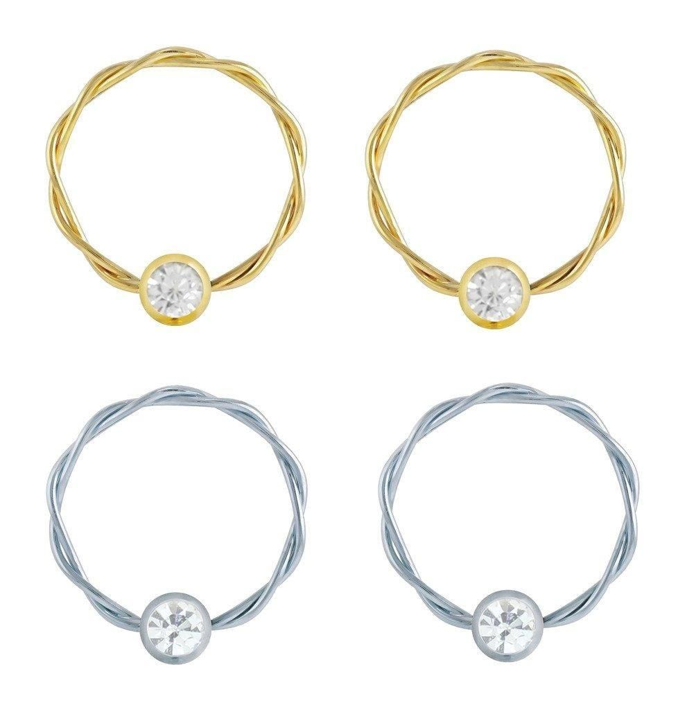 2 Pair Of Twisted Steel & Gold Clear Cz Gem Captive Bead Ring Lip, Belly