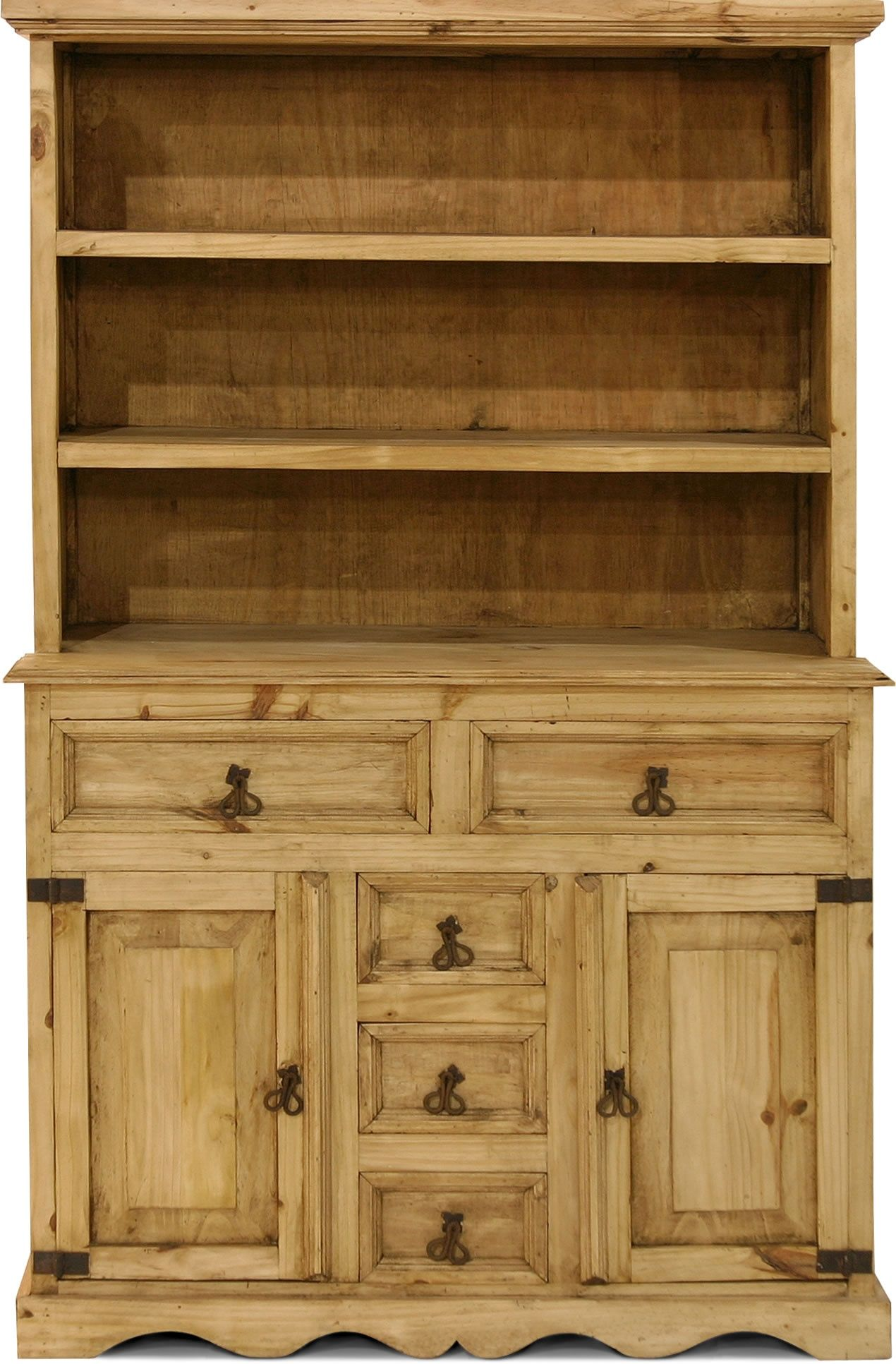 rustic look furniture. Picture Of Gonzalez Rustic Furniture Look Western Pine China Hutch With Storage Drawers And Cabinets - Indian (gnz-VIT10) (Country Cabinets) E