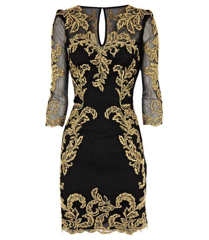 Vintage V-Neck Mesh Splicing Plant Embroidery 3/4 Sleeves Women's DressVintage Dresses | RoseGal.com