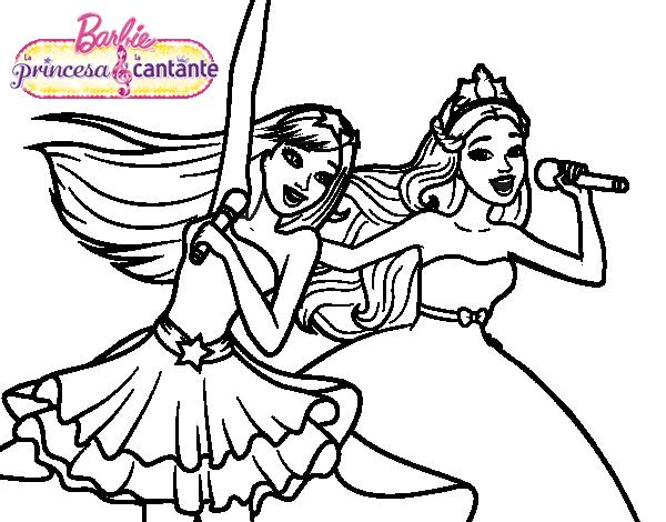 Barbie y la princesa cantando | Dibujos de Barbie para colorear ...