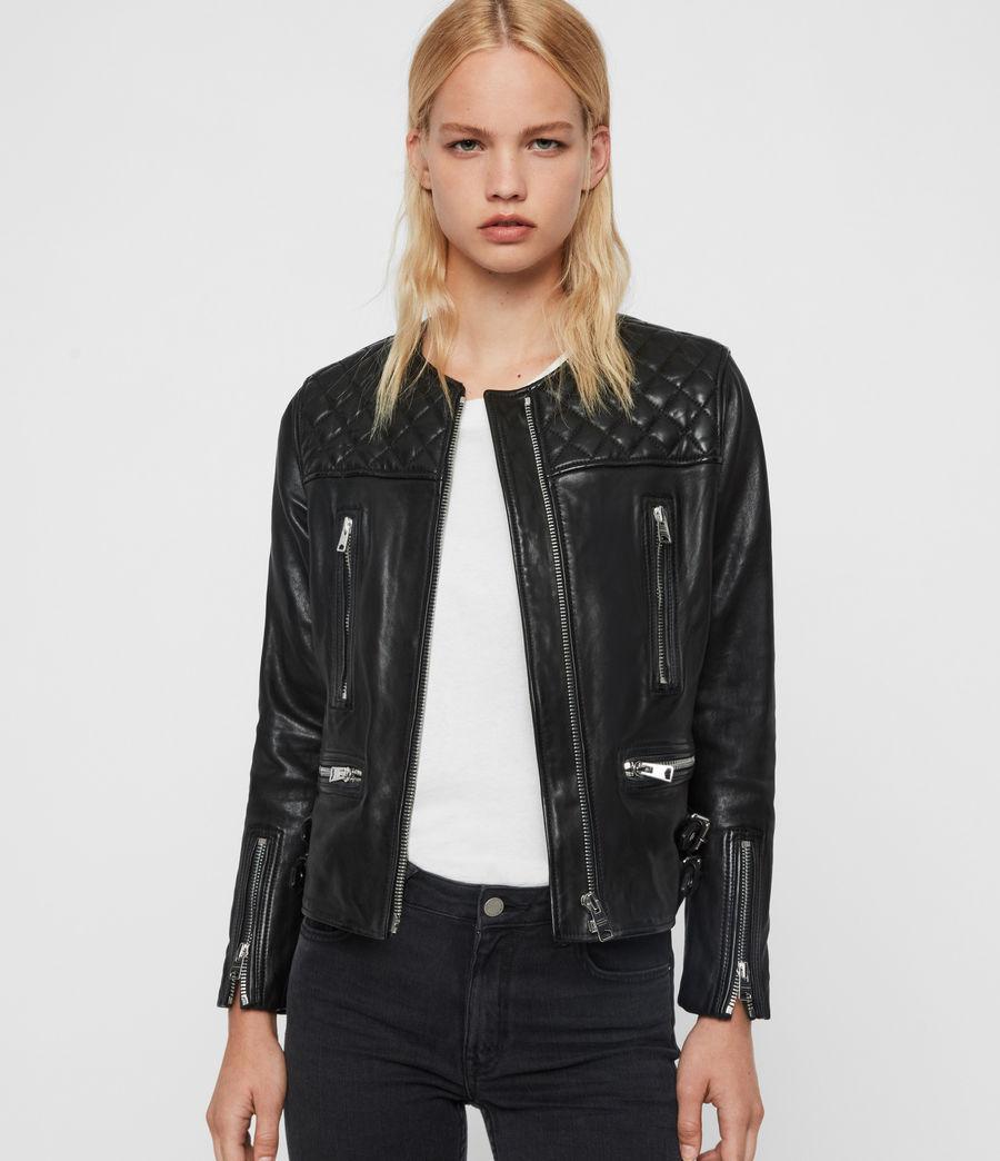 Allsaints Us Womens Milou Leather Biker Jacket Black Leather Jackets Women Shirt Dress Style Leather Jacket [ 1044 x 900 Pixel ]