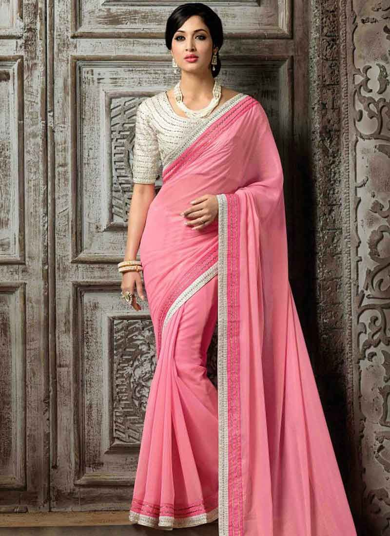 Stylish Baby Pink Hand Work Pure Georgette Party Wear Sarees ...