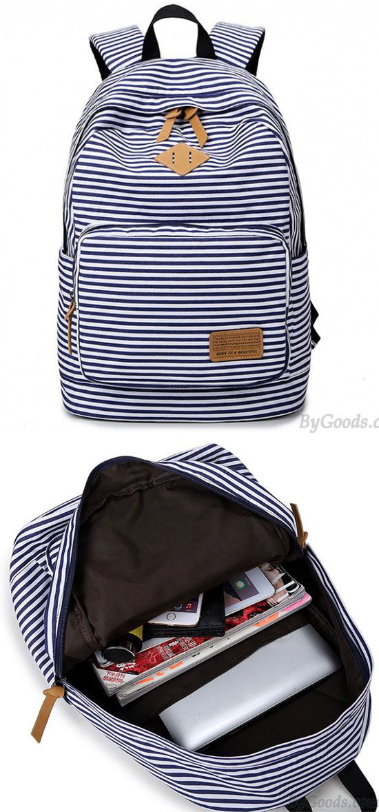 Summer Striped Leisure Canvas Backpack only  33.99 in 2018 ... c71d0b838adbe
