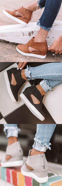 Stylish Wedge Sneakers#Sandal##Sneakers