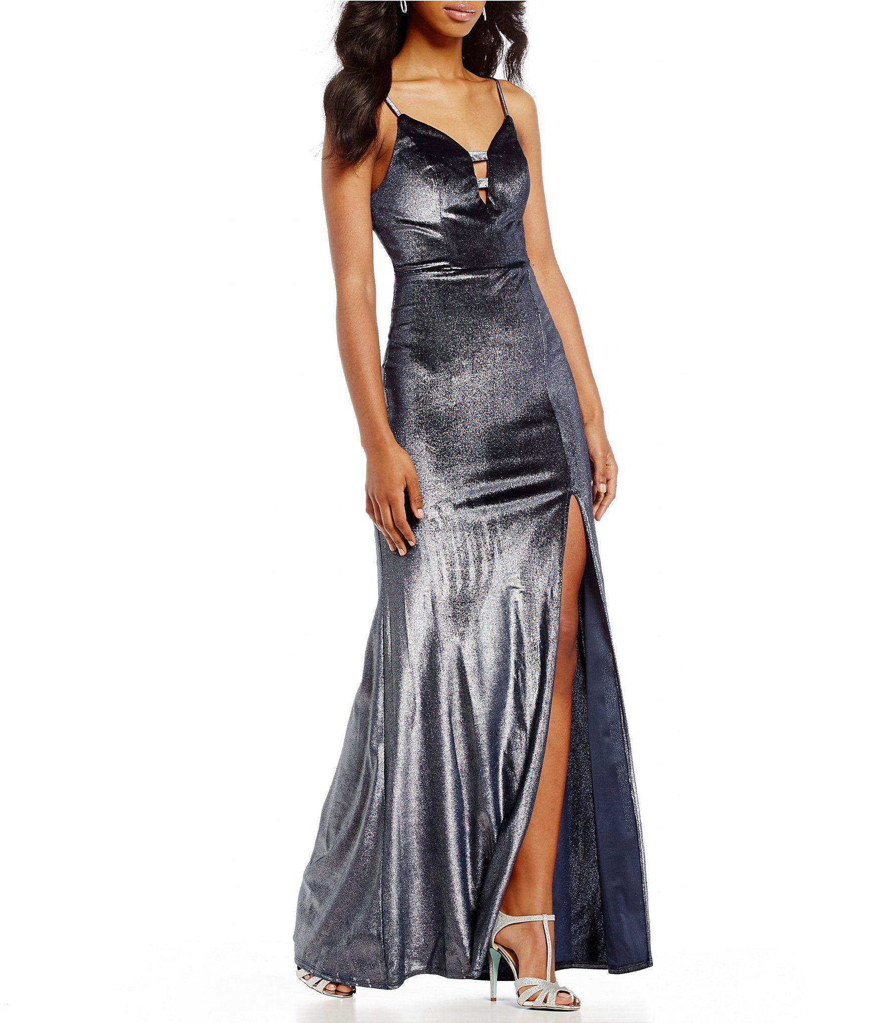 B darlin foiled velvet long dress dillards formal dress