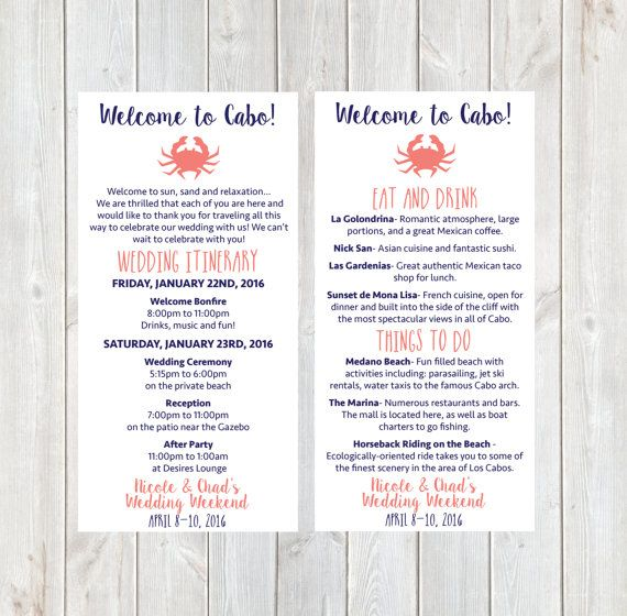 Welcome Letter Wedding Itinerary Hotel Welcome Letter Florida