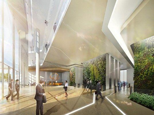 Hanwha HQ Renovation, UNStudio, hanwha group, seoul, eco office tower, green renovation, led facade, building integrated photovoltaics