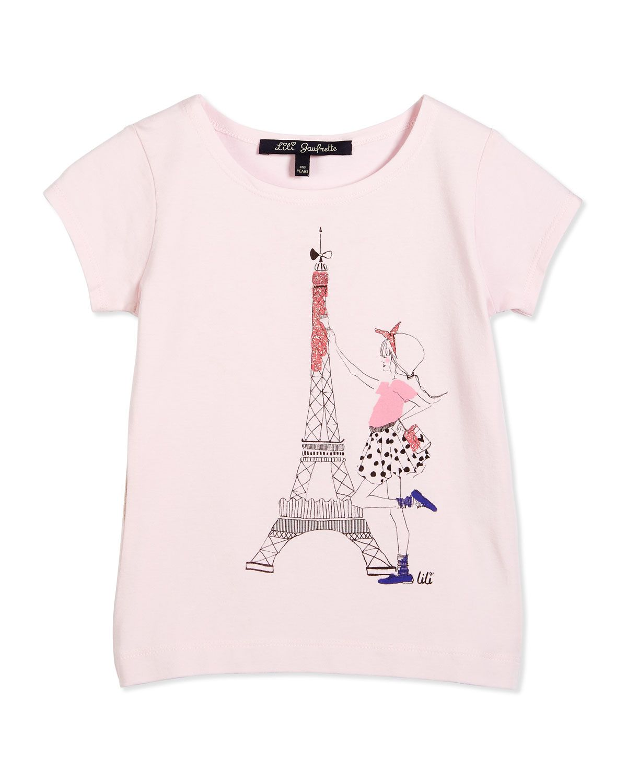 f2c1f85070 Short-Sleeve Eiffel Tower Tee, Light Pink, Size 2-6, Size: 5 - Lili  Gaufrette