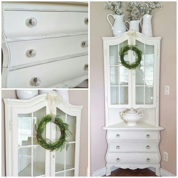 Shabby chic corner hutch.  Photo credit || Freckled Fancy