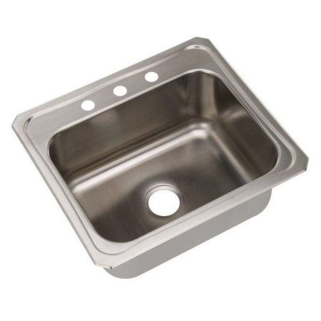 Elkay DCR2522103 Gourmet Celebrity Stainless Steel Single Bowl Top Mount Sink with 3 Faucet Holes