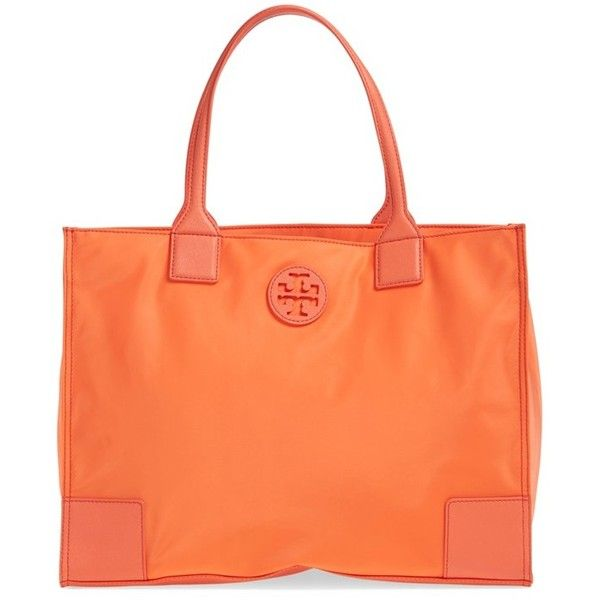 Tory Burch 'Ella' Packable Nylon Tote ($225) ❤ liked on Polyvore featuring bags, handbags, tote bags, sea coral, tory burch tote, travel purse, red tote, red tote bag and travel tote bags
