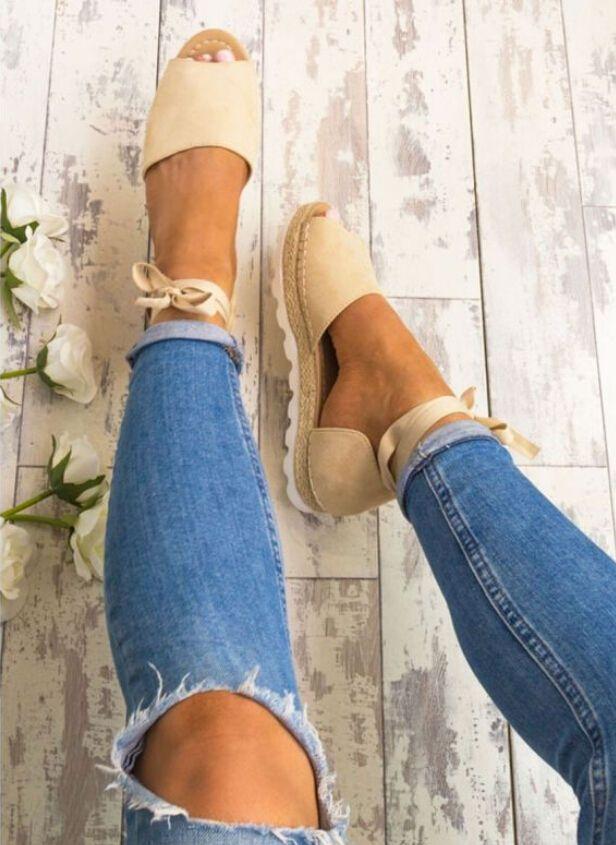 a7ddce7ef2ee Fashion Women s Ladies Flat Comfy Espadrille Sandals Peep Toe Summer Flat  Shoes