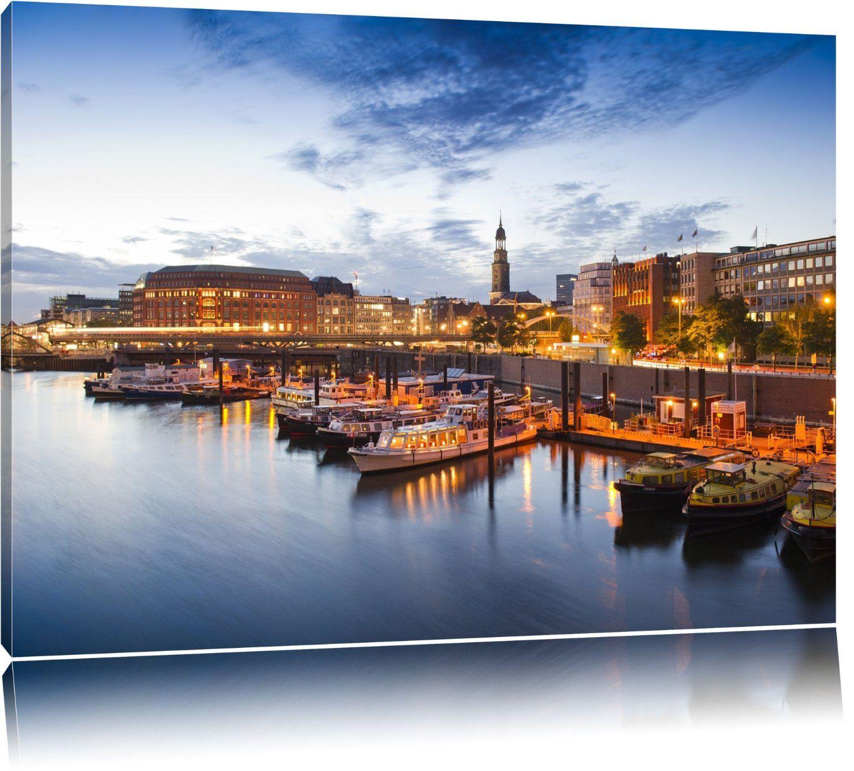Hamburger Hafen am Abend Format: 120x80 auf Leinwand, XXL riesige Bilder fertig gerahmt mit Keilrahmen, Kunstdruck auf Wandbild mit Rahmen, günstiger als Gemälde oder Ölbild, kein Poster oder Plakat